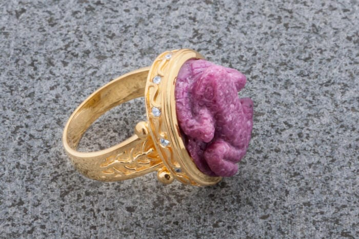 Ruby Frog Ring Byzantine Style Genuine Gemstones Gold Plated Sterling Silver 925 Regnas Quality