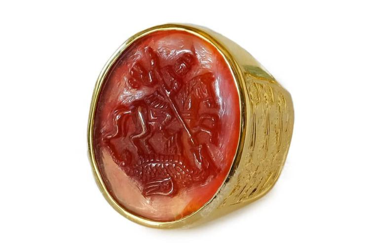 Saint George Ring Hand Carved Red Agate Gold Plated Sterling Silver 925