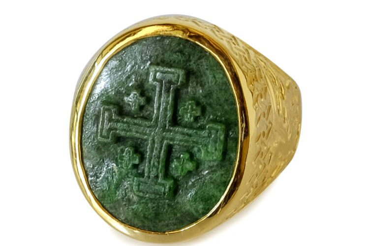 Jade Cross Ring Heraldic Hand Carved Gold Plated Sterling Silver 925