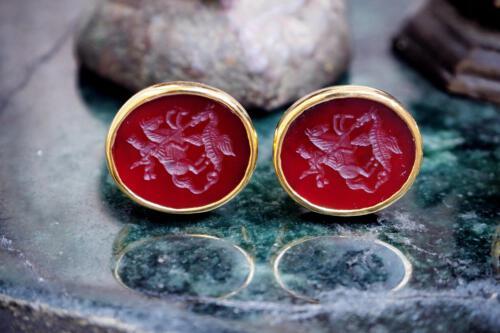St George Cufflinks - Red agate luxury cufflinks by Regnas