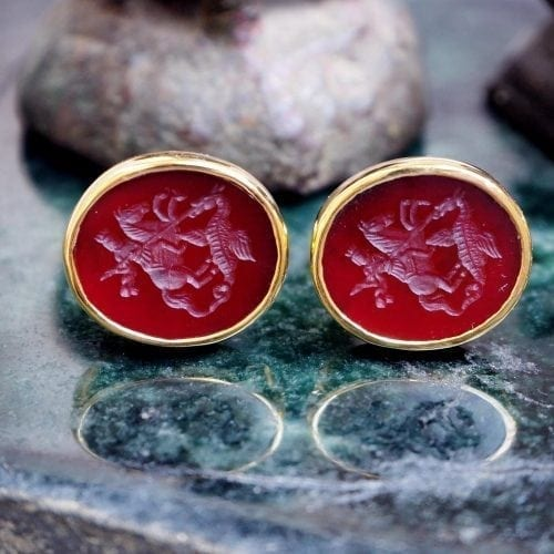 St George Cufflinks - Red agate luxury cufflinks by Regnas
