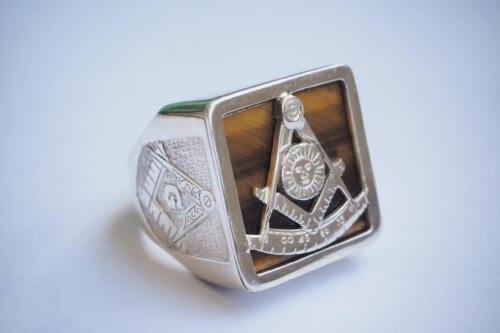 Masonic Ring - Tiger's Eye - Overlaid Set Square & Compass - Sterling Silver