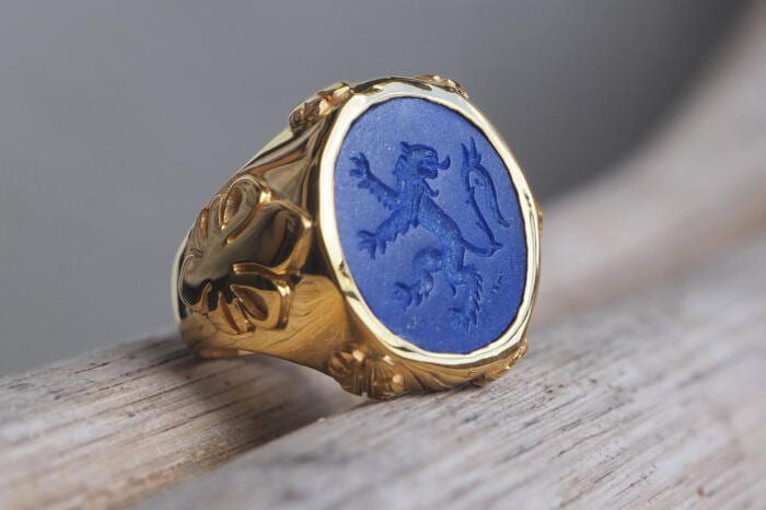 Lapis Lion Ring Hand Engraved Heraldic Fleur De Lys Gold Plated Sterling Silver 925