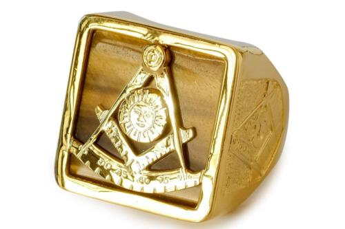Tiger's Eye Set Square & Compass Masonic Ring - Overlaid Design - Gold Plated Sterling Silver