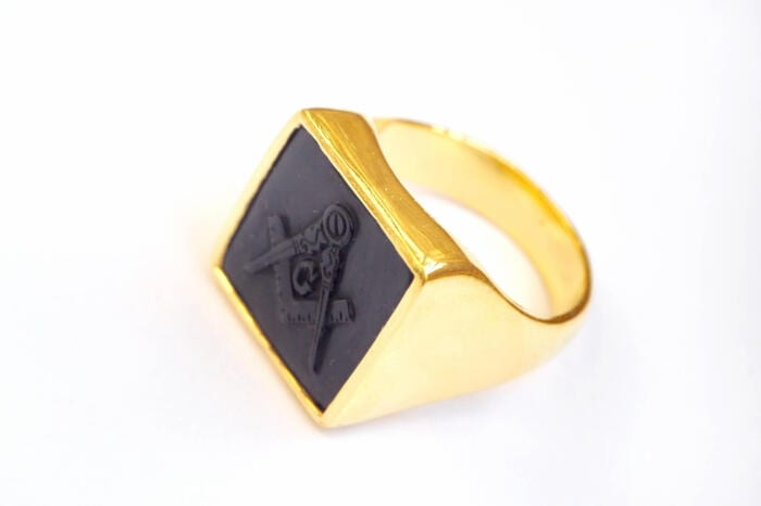 Masonic Ring Onyx Genuine Gemstone Hand Carved Gold Plated Sterling Silver 925