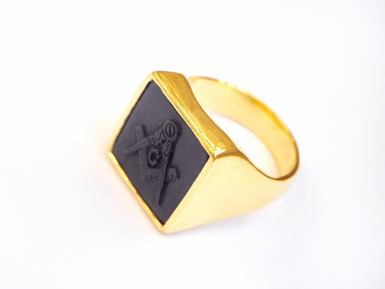 7b1dd98476964 Masonic Ring Onyx Genuine Gemstone Hand Carved Gold Plated Sterling Silver  925