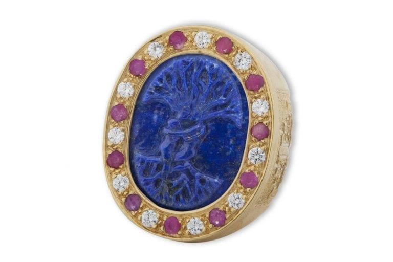 Tree Of Life Ring Lapis Rubies & Zircons Genuine Gemstones Regnas Very Large Heraldic Gold Plated Sterling Silver 925