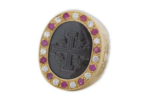 Jerusalem Cross Ring Black Onyx