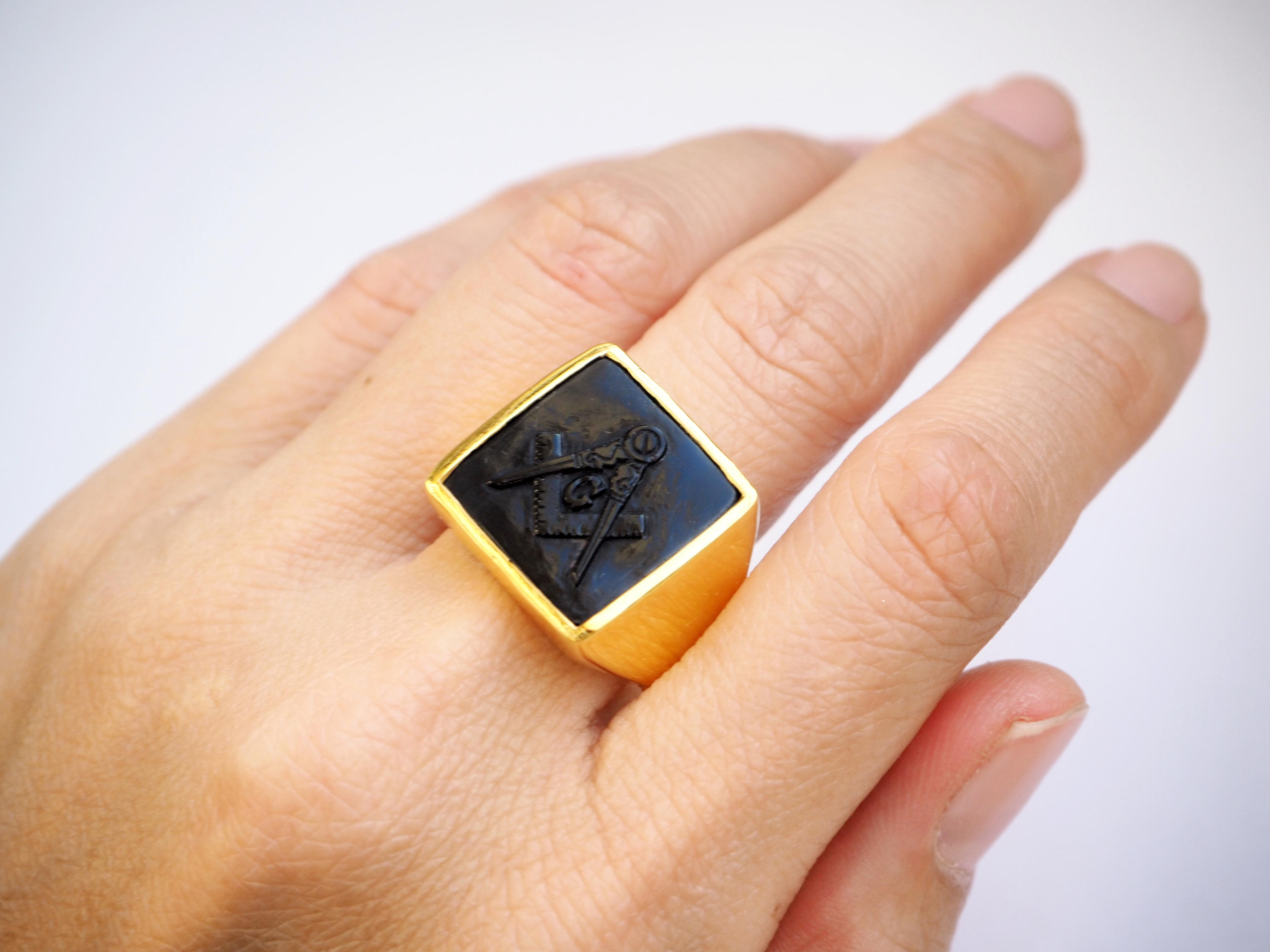 Masonic Ring Onyx Genuine Gemstone Hand Carved Gold Plated Sterling Silver  925 - The Regnas Collection