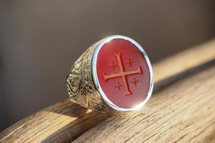 Cross Ring Red Agate
