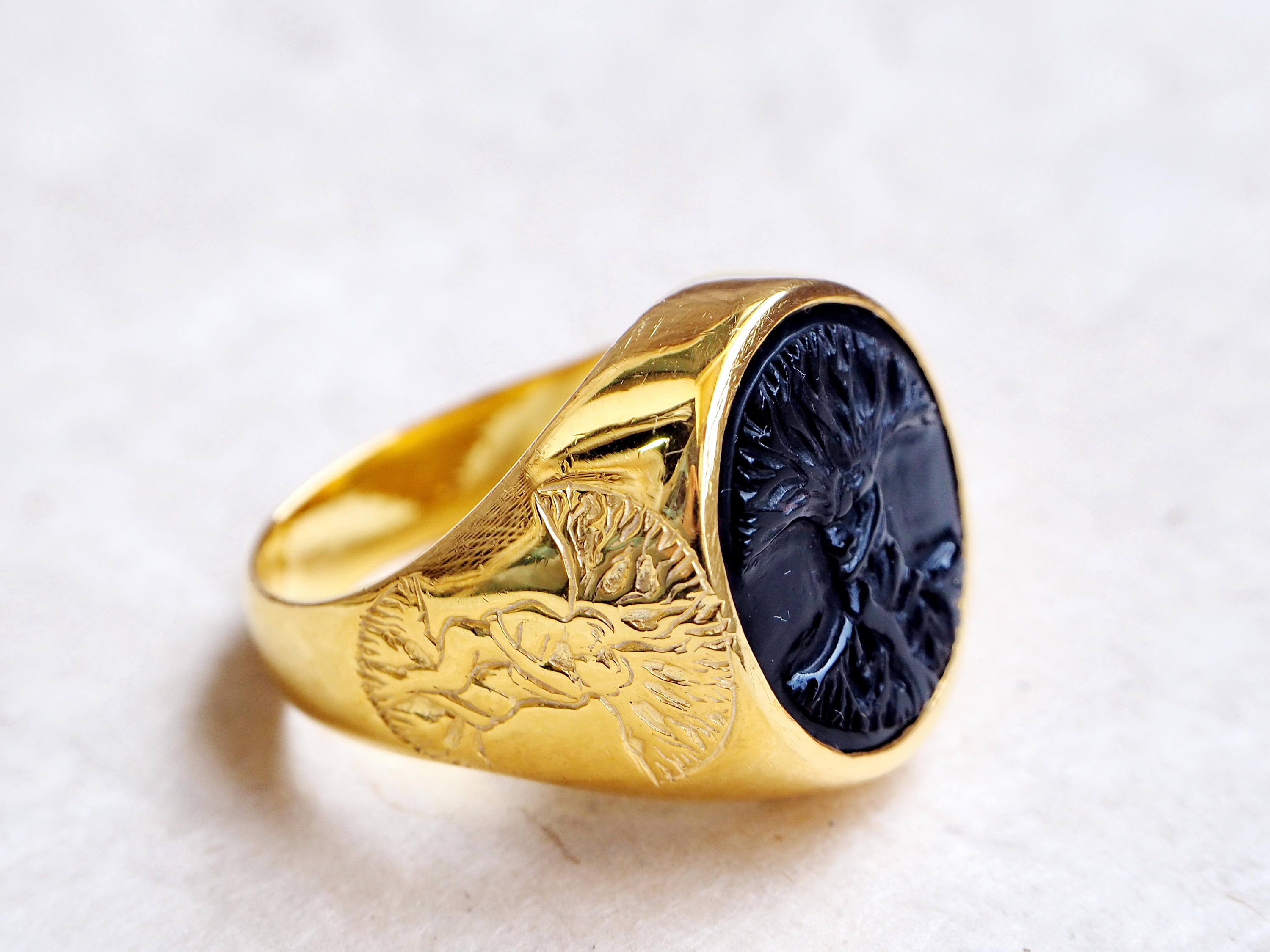 Tree Of Life Ring Black Onyx Handmade Regnas In Gold Plated Sterling Silver 925 The Regnas Collection