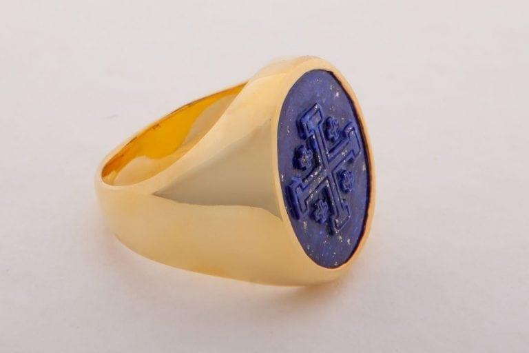 Jerusalem Cross Ring Lapis Genuine Gemstone Hand Carved Gold Plated Sterling Silver 925