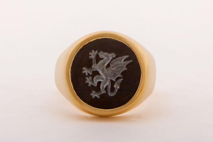 Dragon Ring Celtic Signet Black Onyx 18 k gold plated Sterling Silver 925