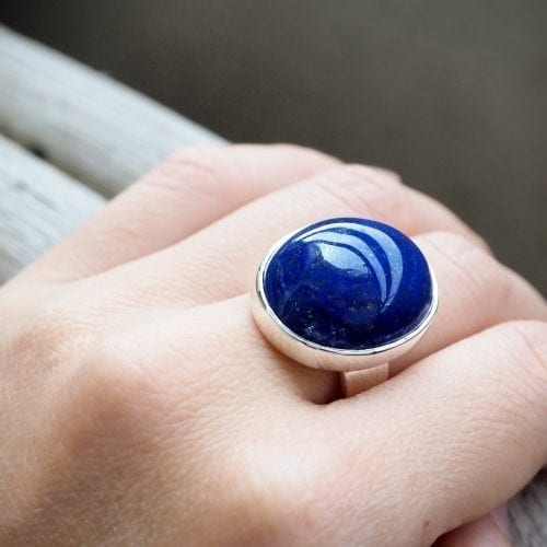 Lapis Ring - large cabochon stone ring