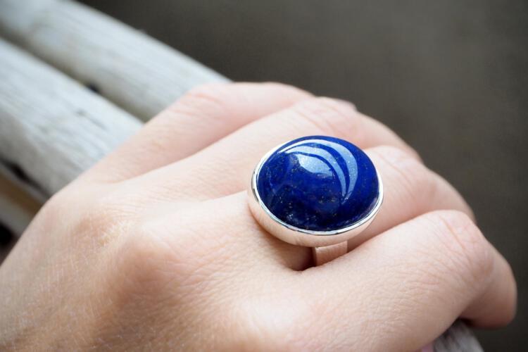 Lapis Ring - large cabochon stone ring