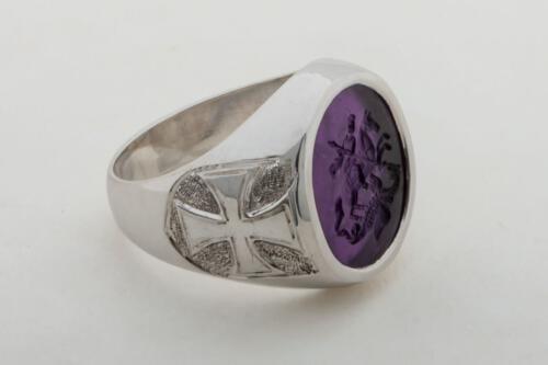 Amethyst Ring Saint George Engraved - SS1816X448