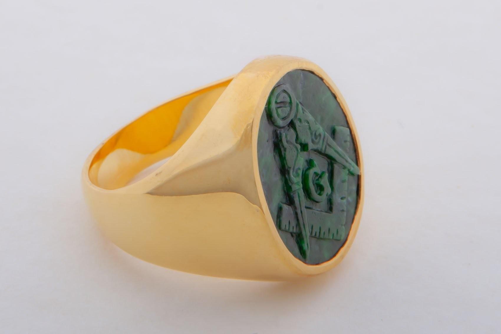 Jade Masonic Ring carved