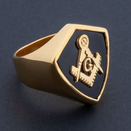 Masonic ring - Black onyx