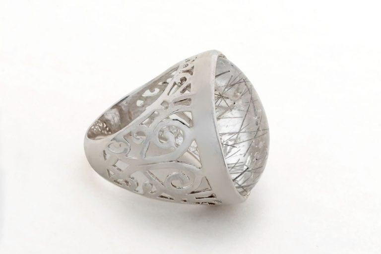 Rutile Quartz Ring Rare Genuine Gemstone Regnas Sterling Silver 925