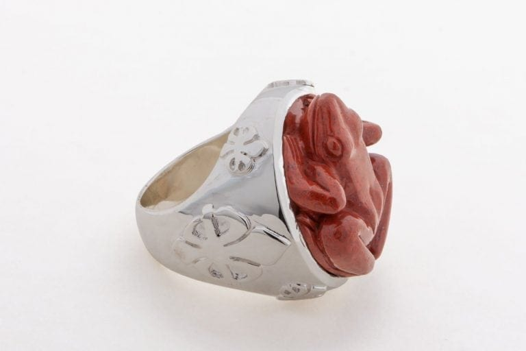 Jasper Giant Frog Ring Special Hand Carved Genuine Exciting Gemstone Sterling Silver 925