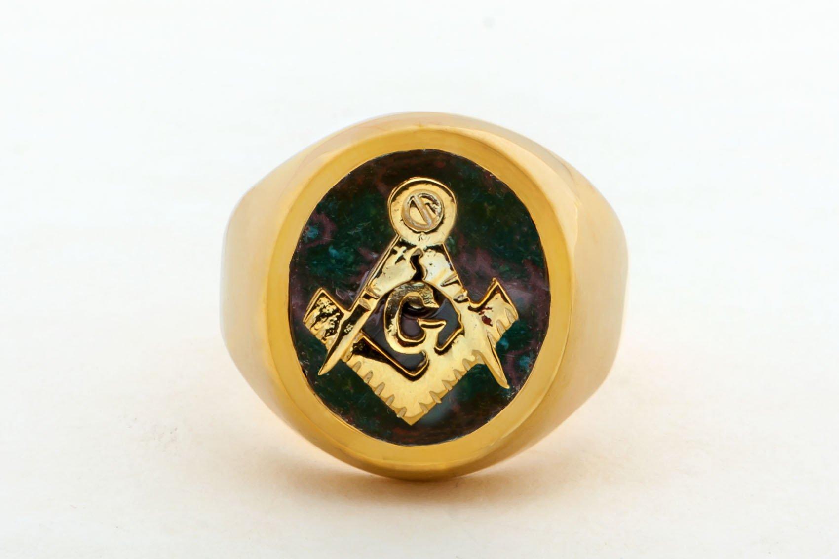Masonic Ring Genuine Bloodstone