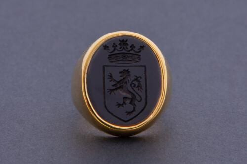 Black Onyx Lion and Crown Ring Mounted To Gold Plated Sterling Silver