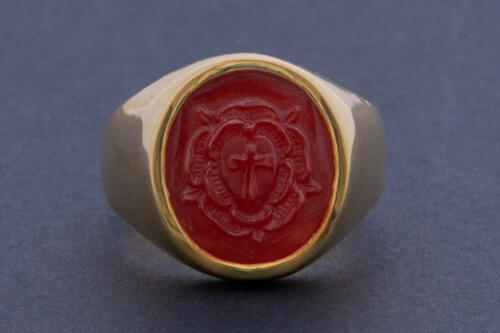 Rose Cross Ring - red agate - hand carved