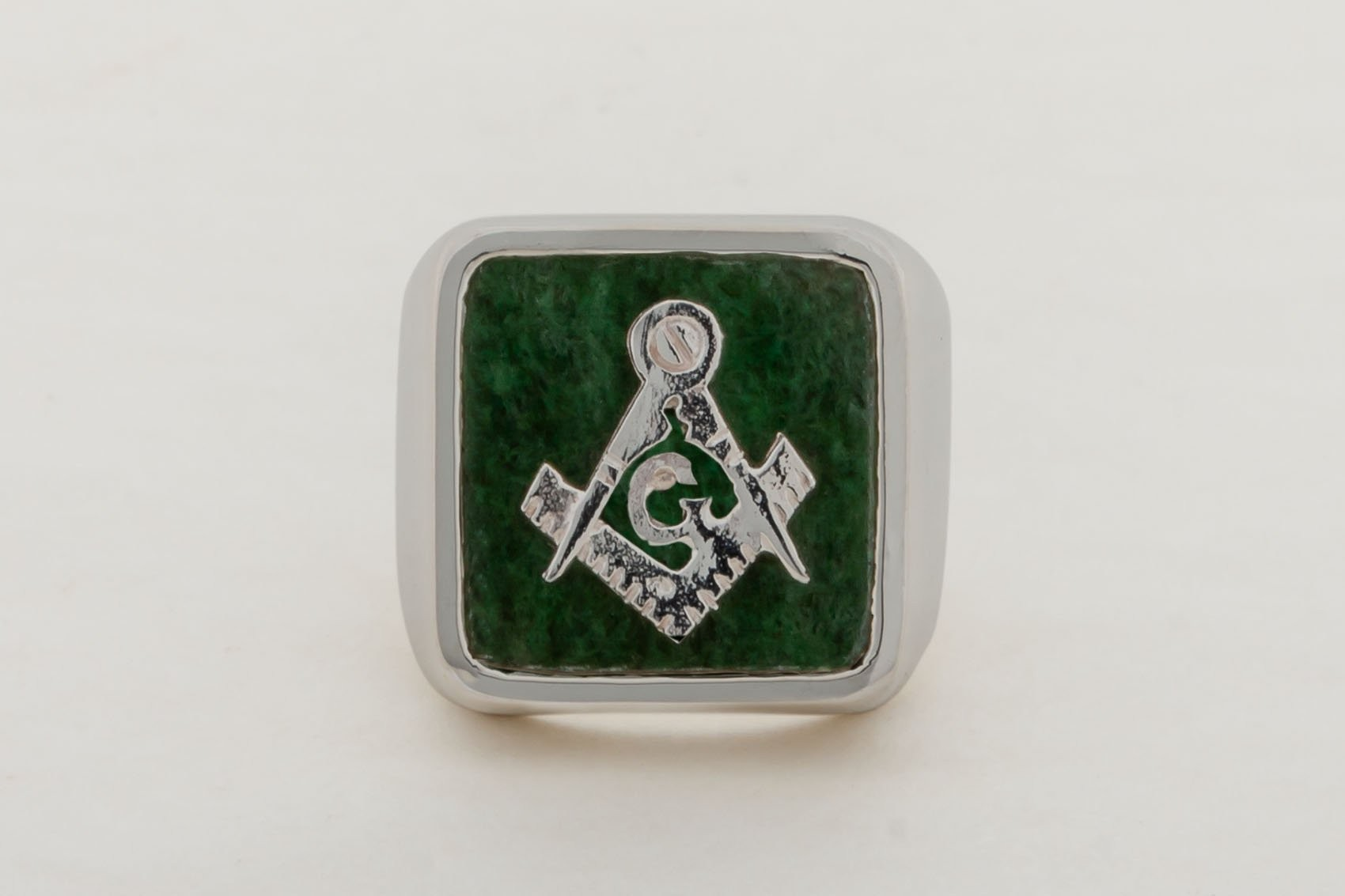 Jade Masonic Ring Square