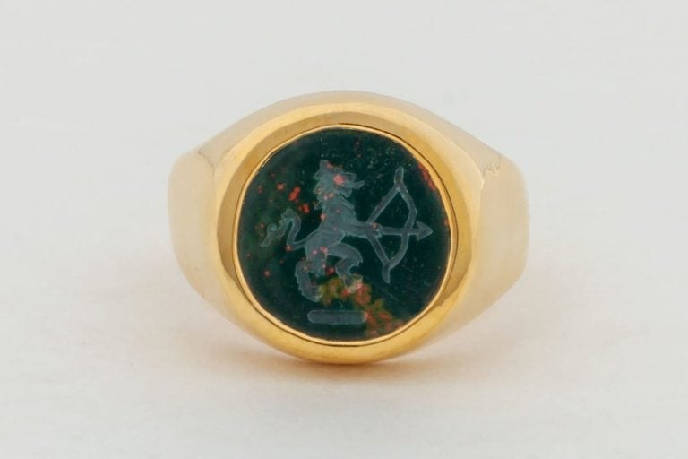 Bloodstone Ring Genuine Gemstone Regnas Signet Lion With Archer Gold Plated Sterling Silver 925