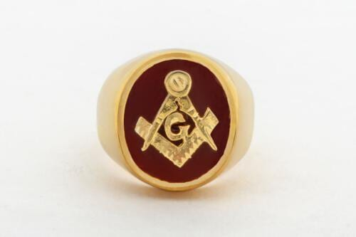 Masonic Set Square & Compass Ring - Overlaid Design - Gold Plated Sterling Silver