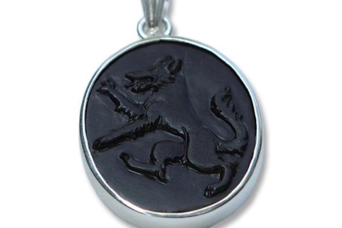 Wolf Pendant Black Onyx Genuine Gemstone Sterling Silver Regnas 925