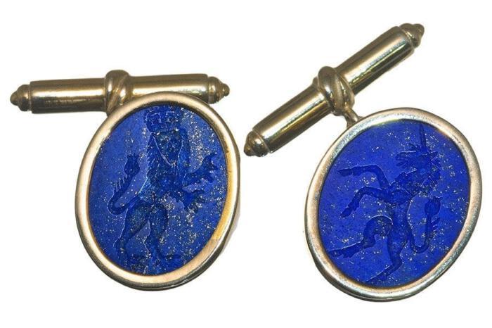 Lapis Lion Cufflinks Genuine Gemstone Engraved Lion Gold Plated Sterling Silver 925