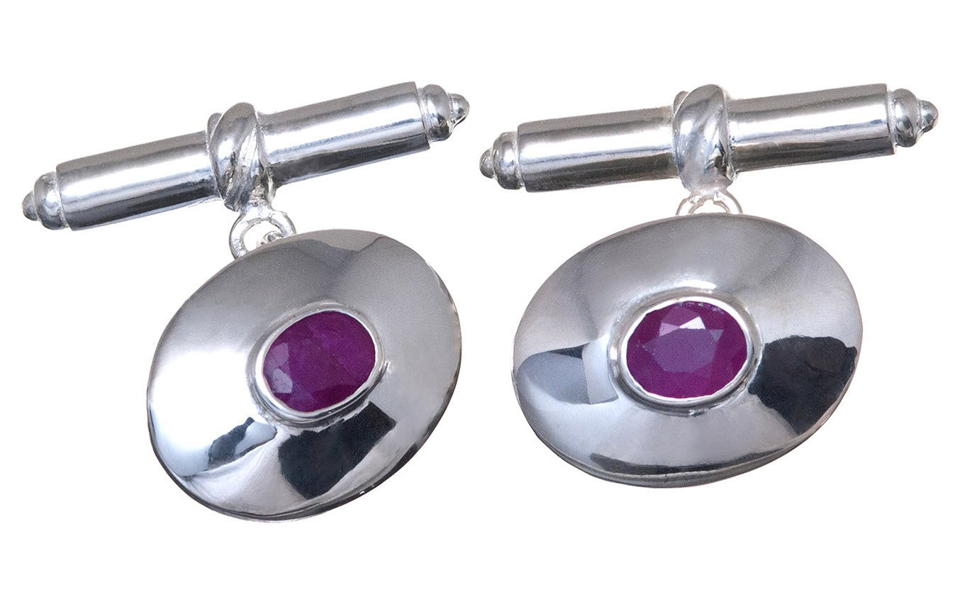 Sterling Silver Ruby Cufflinks