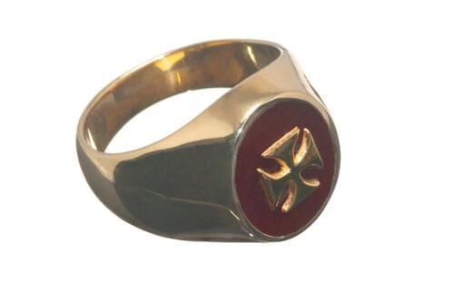 Masonic Templar Ring Red Agate