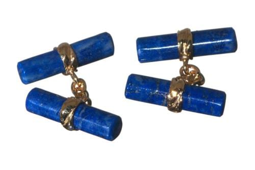 Lapis Double Cylinder Cufflinks On Gold Plated Silver