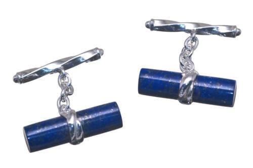 Lapis Cufflinks - Large Cylinder Shapes - Sterling Silver