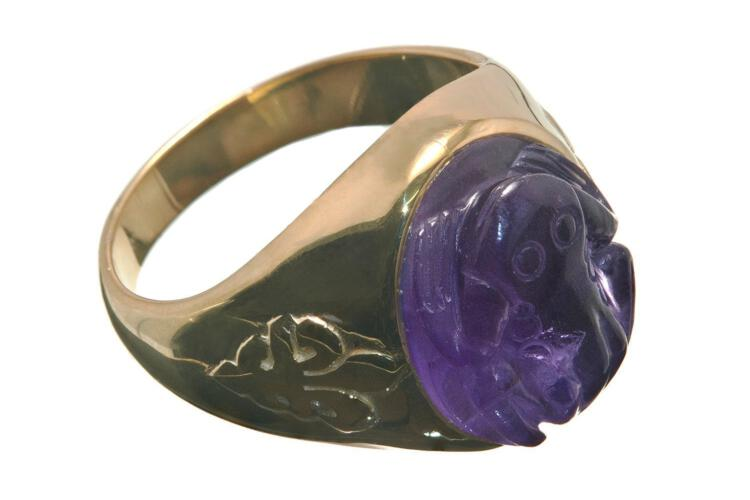 Freddy Frog Ring Synthetic Amethyst Hand Carved Gemstone Fleur De Lys Metro Gold Plated Sterling Silver 925