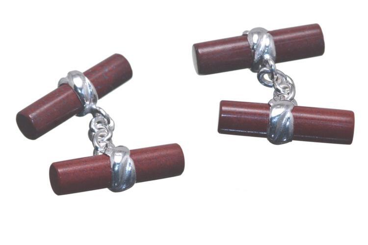 Red Jasper Chain Link Cufflinks - silver -Regnas designer cufflinks