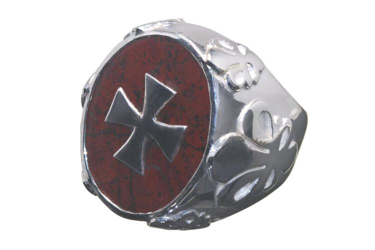 Jasper Ring Superb Genuine Gemstone Heraldic Templar Cross Sterling Silver 925