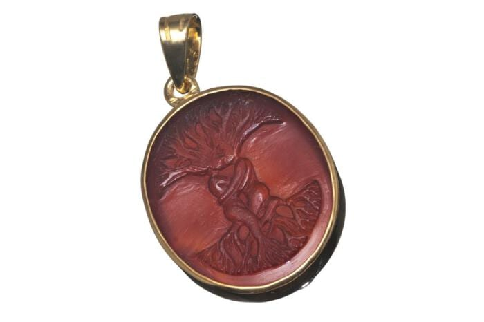 Tree Of Life Pendant Red Agate Hand Carved Gold Plated Sterling Silver 925