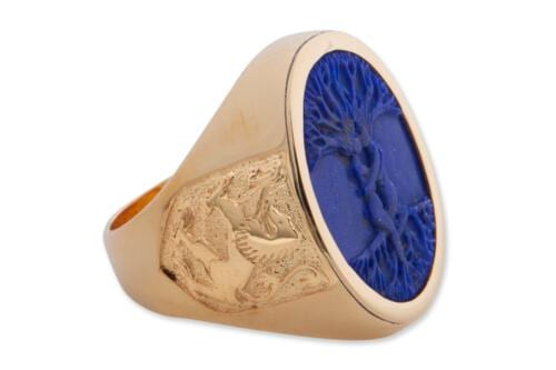 Lapis mans ring -Scttish lions - Tree of life