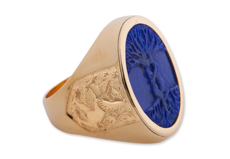 Lapis mans ring -Scttish lions - Tree of life