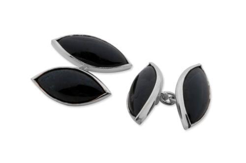 Black Onyx Cufflinks Double Lozenge Sterling Silver