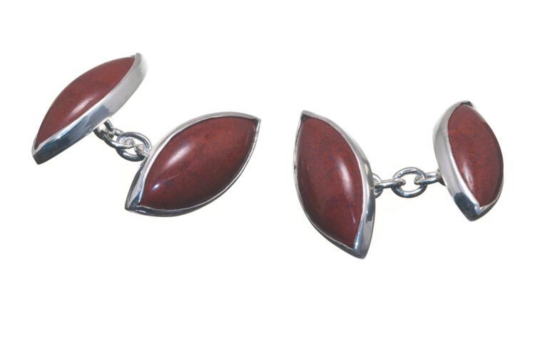 Red Jasper Cufflinks Double Lozenge Sterling Silver 925