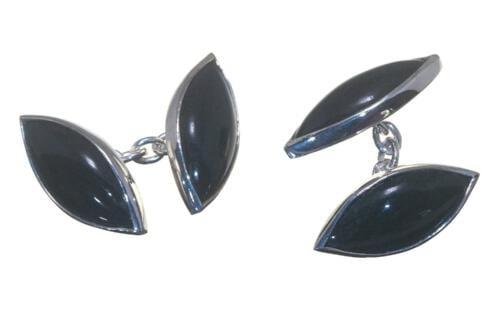 Black Onyx Cufflinks Double Lozenge Silver