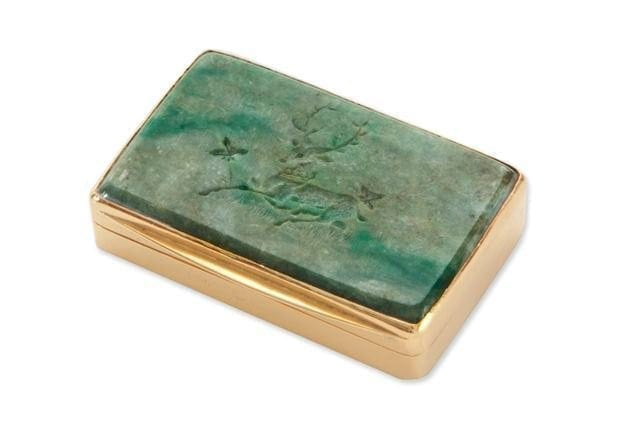 Jade Snuffbox Unique Deer Engraved Green  Solid Gold Plated Sterling Silver 925