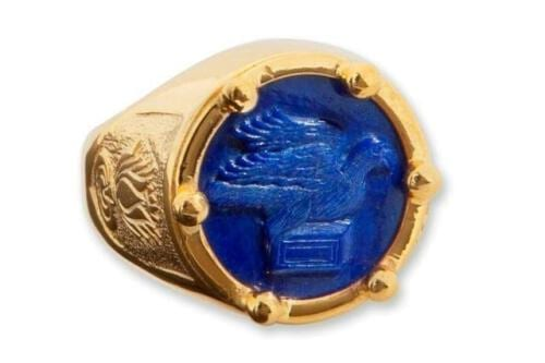 Lapis Ring - Greek Dove Of Peace - Gold Plated Sterling Silver