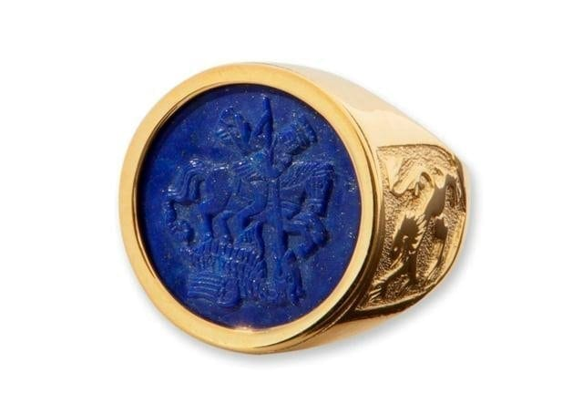 Lapis Ring Sculpted Of Saint George Gold Plated Sterling Silver 925