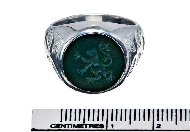 Bloodstone Ring Engraved Gemstone Heraldic Lion Rampant Sterling Silver 925