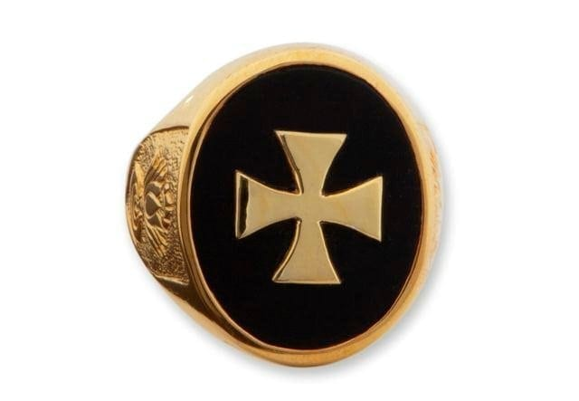 Templar Cross Ring - Black Onyx - Gold Plated Sterling Silver